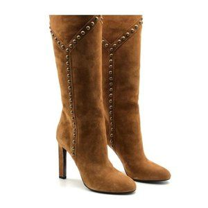 YSL Grace Suede Tan Studded Boots Sz 38.5